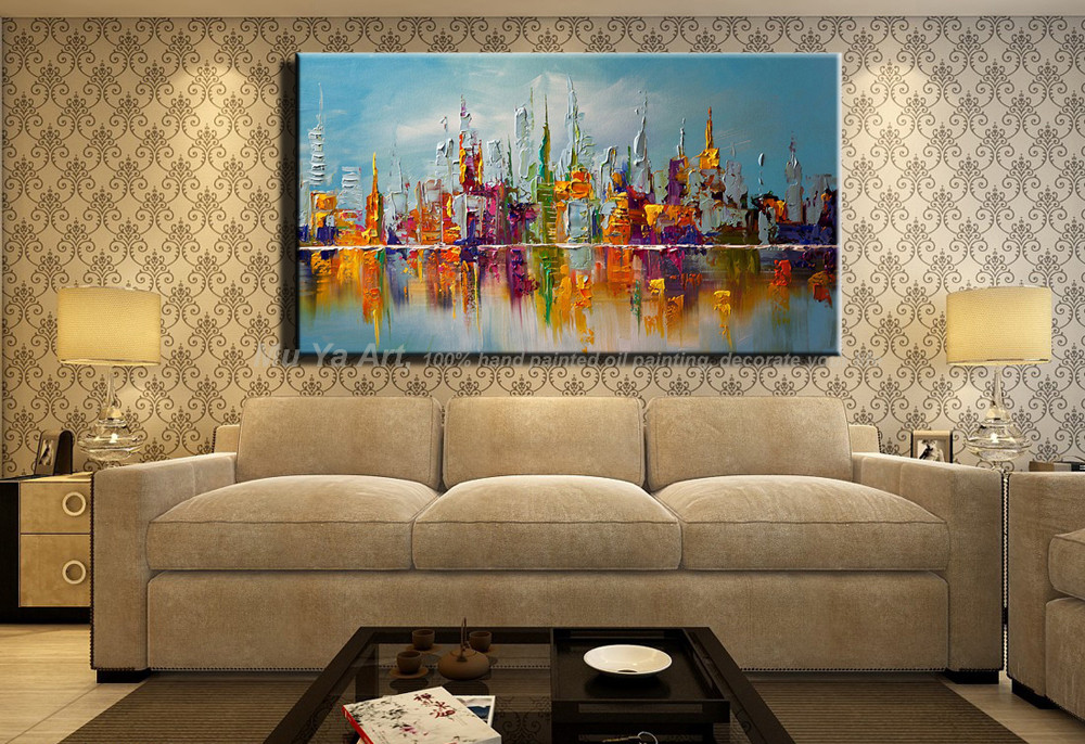 Buy Large beautilful landscape Abstract modern wall city painting Knife oil painting reproduction canvas for living room decoration cheap