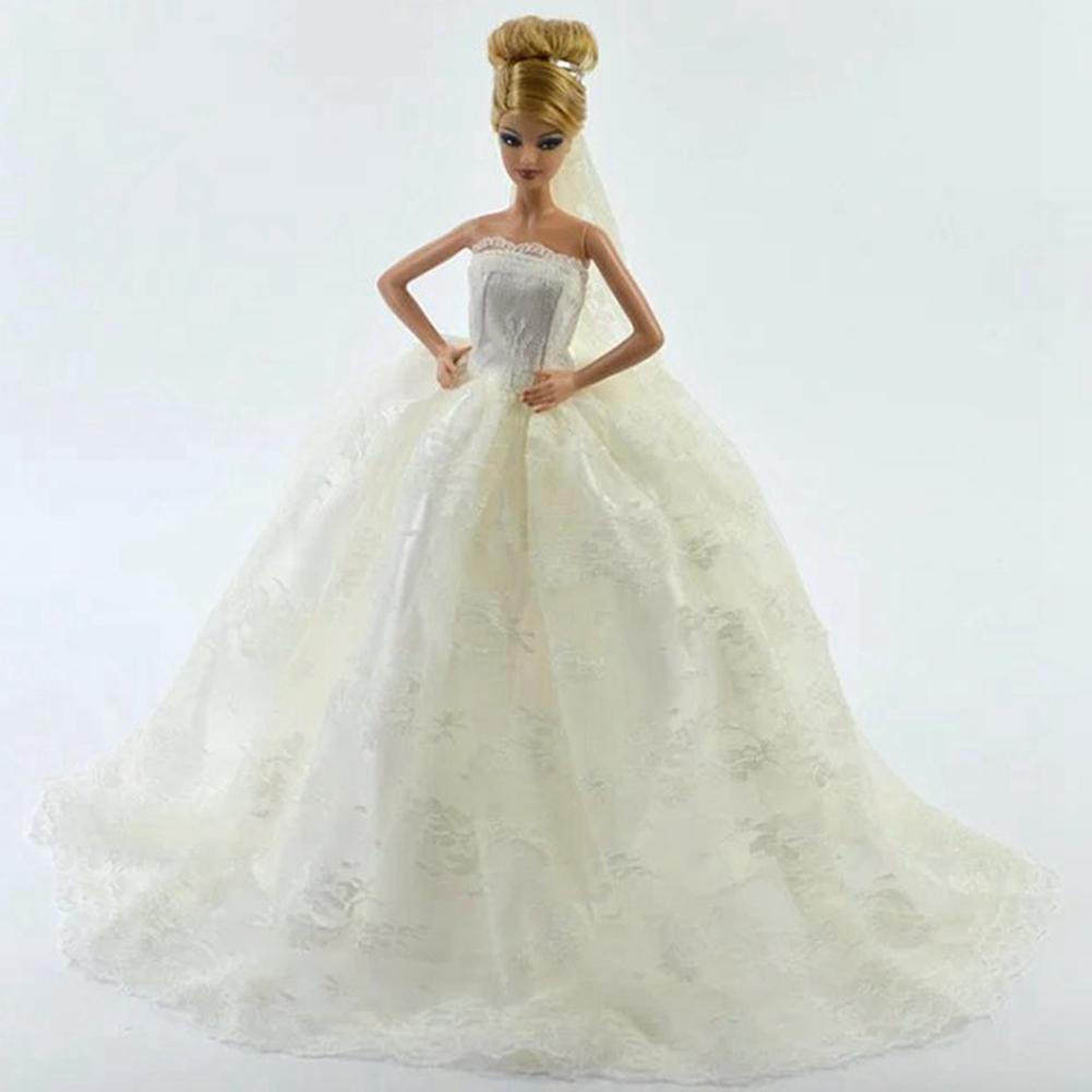 Stunning White Princess Marriage ceremony Costume Noble Get together Robe For Barbie Doll Vogue Design Outfit Greatest Reward For Lady' Doll With Veil