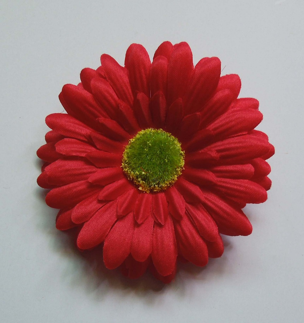 Free Shipping 50pcs 4'' 10cm Artificial Silk Gerbera Daisy Flower Heads Sunflowers For DIY Hair Accessories Garment Decoration(China (Mainland))