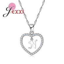 Personalisierte Brief Tiny Dainty Herz Halskette & Anhänger Strass Halsband für Frauen Lange Kette Halskette Bijoux Schmuck(China)