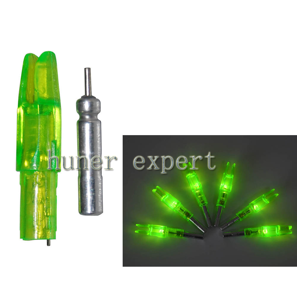 Bow target practicing 4mm ID. plastic LED lighting green archery arrow nock inserting core electrons 3pcs(China (Mainland))