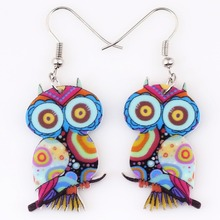 1 pair owl cute lovely printing drop earrings acrylic new 2014 design spring/summer style for girls woman jewelry