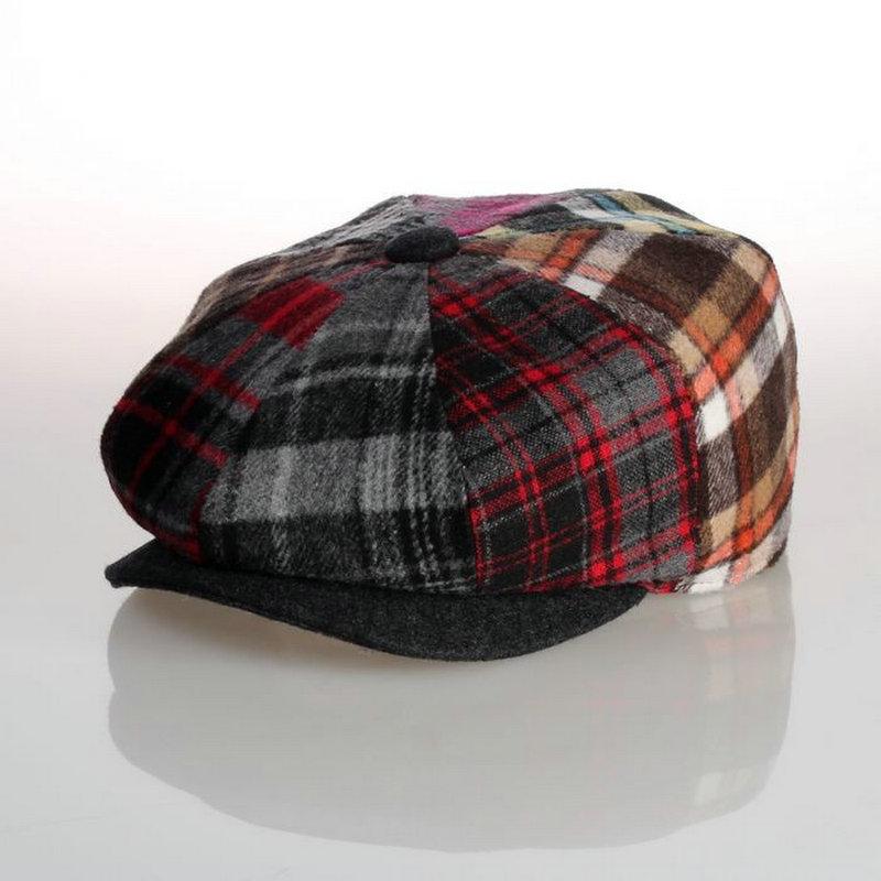 Free shipping Octagonal cap fashion magazine eight color block painter han edition newsboy cap hat beret men and women