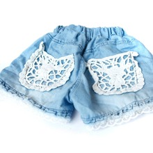 Kids Children Girls Fashion Shorts Jeans Lace Pocket Demin Summer Jeans Children's Clothing New Arrival(China (Mainland))