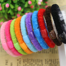 2015 New 3pcs/bag Candy Colored Hair Holders Rubber Bands Elastics Girl Women Hair Accessories Tie Gum Free Shipping(China (Mainland))