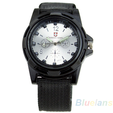 New Solider Military Army Men s Sport Style Canvas Belt Luminous Quartz Wrist Watch 4 Colors