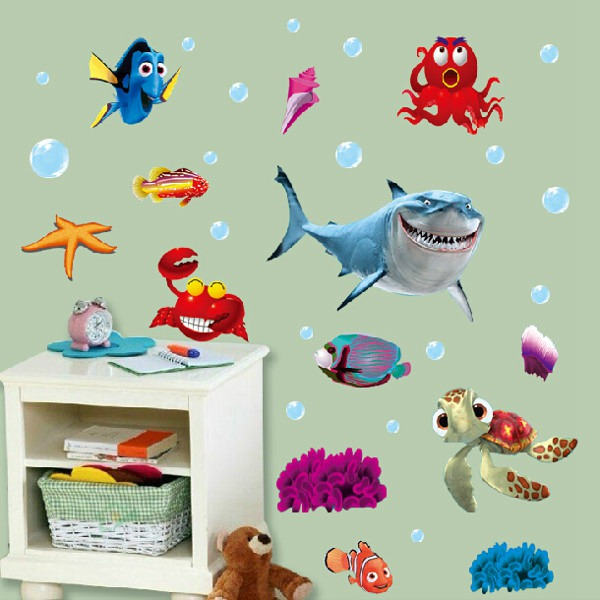 Good Quality Funny Beautiful Ocean Sea Fish Vinyl Removable Mural Wall Sticker Kids Room Bathroom DIY Decor(China (Mainland))