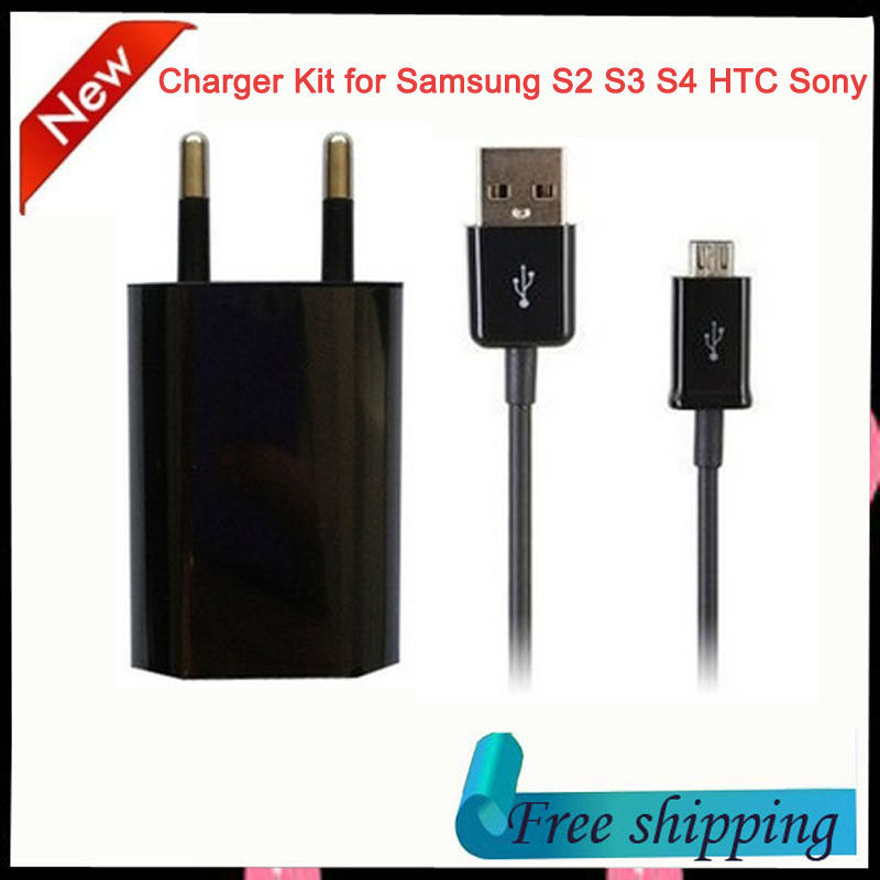 EU USB Home Wall Charger +1M Micro USB Data Sync Charging Cable for Samsung Galaxy S2 S3 S4 LG Xiaom HTC Sony Nokia free ship(China (Mainland))