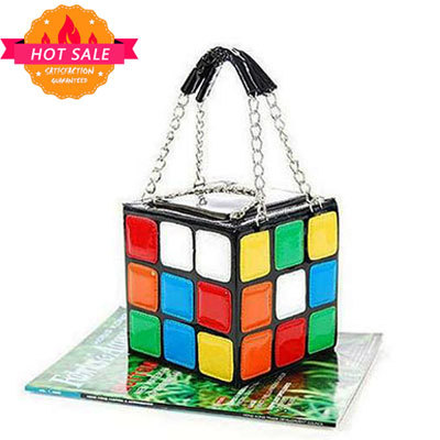 2015 summer style Lovely modelling of magic rubik's cube package PU leather handbags women messenger bags cymka mochila(China (Mainland))