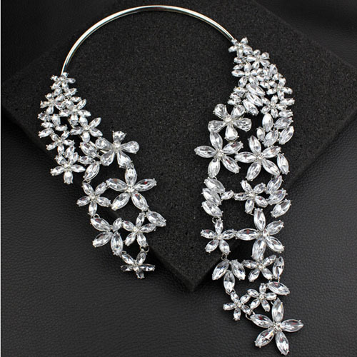 Brand Exaggerate Luxury Crystal Rhinestone Gem white black  Flowers Big Large Tassel Statement Vintage Torques Women Necklace<br><br>Aliexpress
