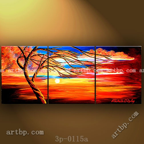 Twisting in the sunset oil painting on canvas discount for 3 panel painting
