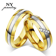 High Quality CZ couple rings for men / womrn wedding engagement gold ring for 1pcs