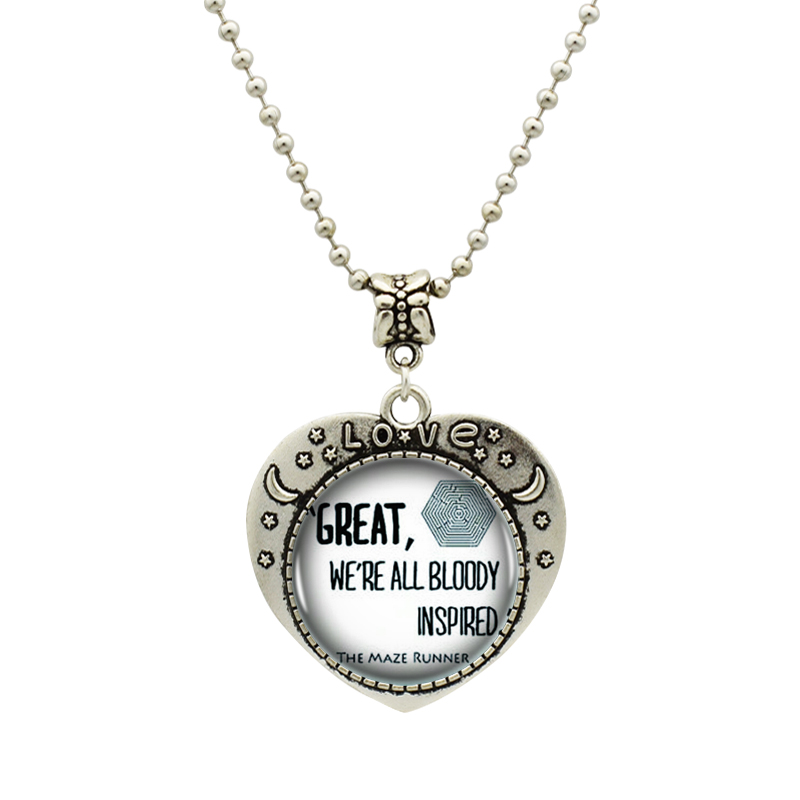 1pcs/lot Maze Runner Logo Pendant Necklace Antique Silver Chain Statement Vintage Heart Necklace For Best Friend Gift(China (Mainland))