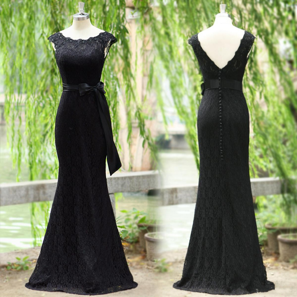2014 actual image black lace with supporting evening led ribbon bow cover button scanning training 2015 new mermaid PROM dress(China (Mainland))