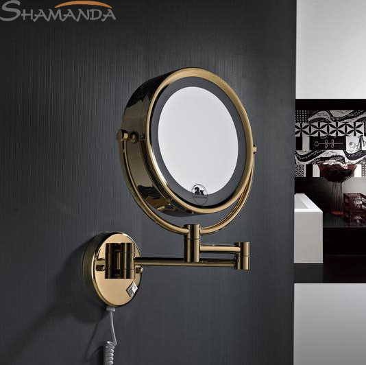 Free shipping High quality Solid brass gold bathroom LED cosmetic mirror in wall mounted mirrors bathroom accessories-60019