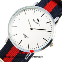 Free Shipping Brand WoMaGe Colorful Nylon Strap Quartz Watch Fashion Round  Casual Daily Wristwatch silver table