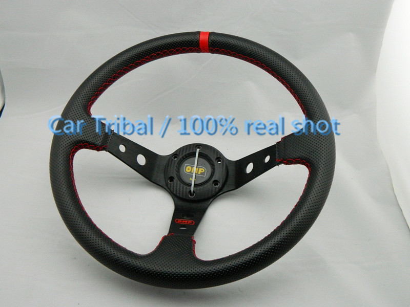 Free Shipping Hot omp leather steering wheel modified car / 350mm steering wheel modified racing feel good<br><br>Aliexpress
