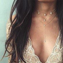 Vintage cinzelado moeda colar para as mulheres moda ouro cor medalhão colar várias camadas pingente longo colares boho jóias(China)