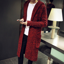 Autumn Winter Loose Long Mens Cardigans Sweaters New Fashion Big Size Jumpers Mens Hooded Sueter Knit Sweater Jersey Sudaderas(China (Mainland))