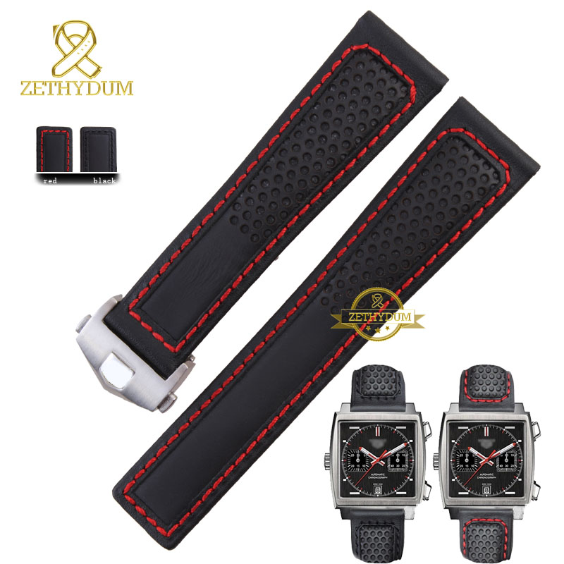 Genuine leather bracelet watch strap watchband mens wristwatches band red stitched 22mm accessories watch belt fold buckle(China (Mainland))