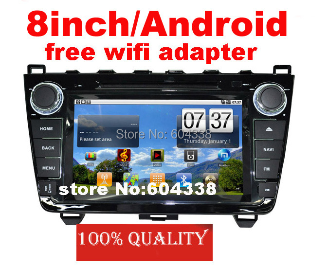 8inch car DVD Android 8G flash with map free wifi adapter for ( 2008-2013) Mazda 6/Mazda6 Ultra,GPS+BT+FM+IPOD(China (Mainland))