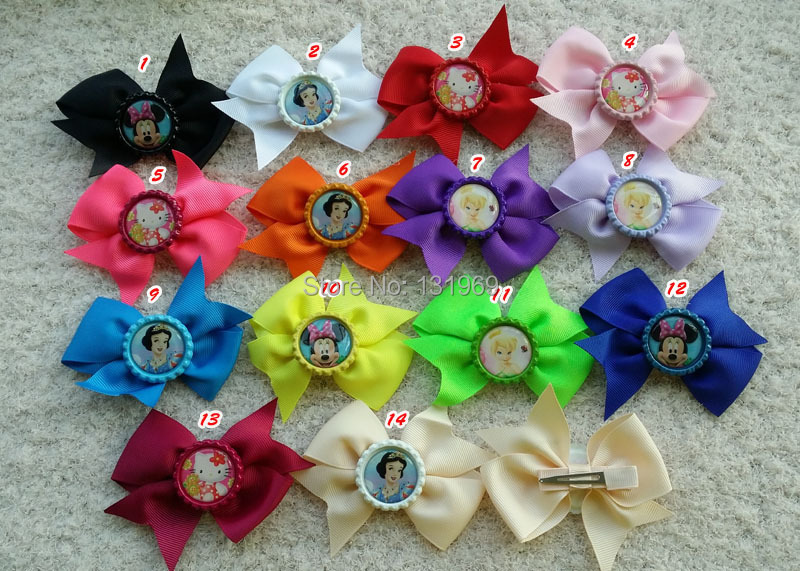 50pcs Girl mickey Tinker Bell/Snow White/hello kitty Flattened Bottle Caps ribbon hair bow clip bow children hair accessories(China (Mainland))