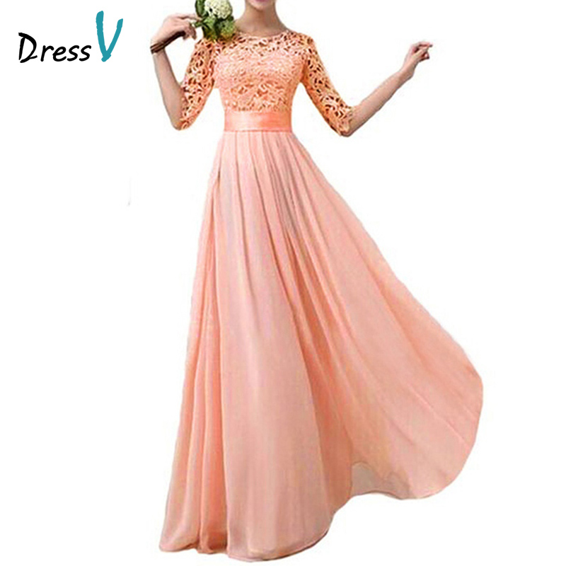 Elegant half sleeves peach chiffon lace bridesmaid dresses for Peach dresses for wedding