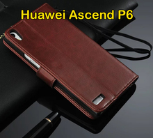 Huawei Ascend P6 Case 4.7 inch Flip Wallet Genuine Leather Cover For Huawei Ascend P6 P6S Three Card Holder+ Screen Protector(China (Mainland))