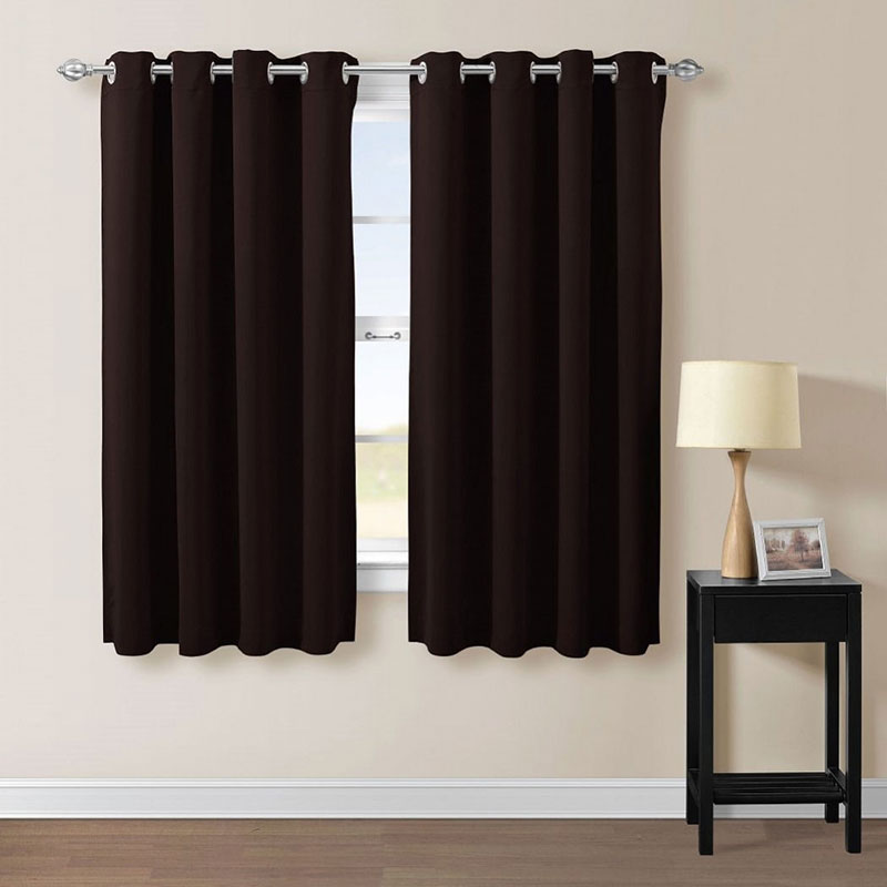 1pair Short bedroom curtains Black Window shades Eyelets Thermal insulated blackout curtains Modern Home Short curtain set(China (Mainland))