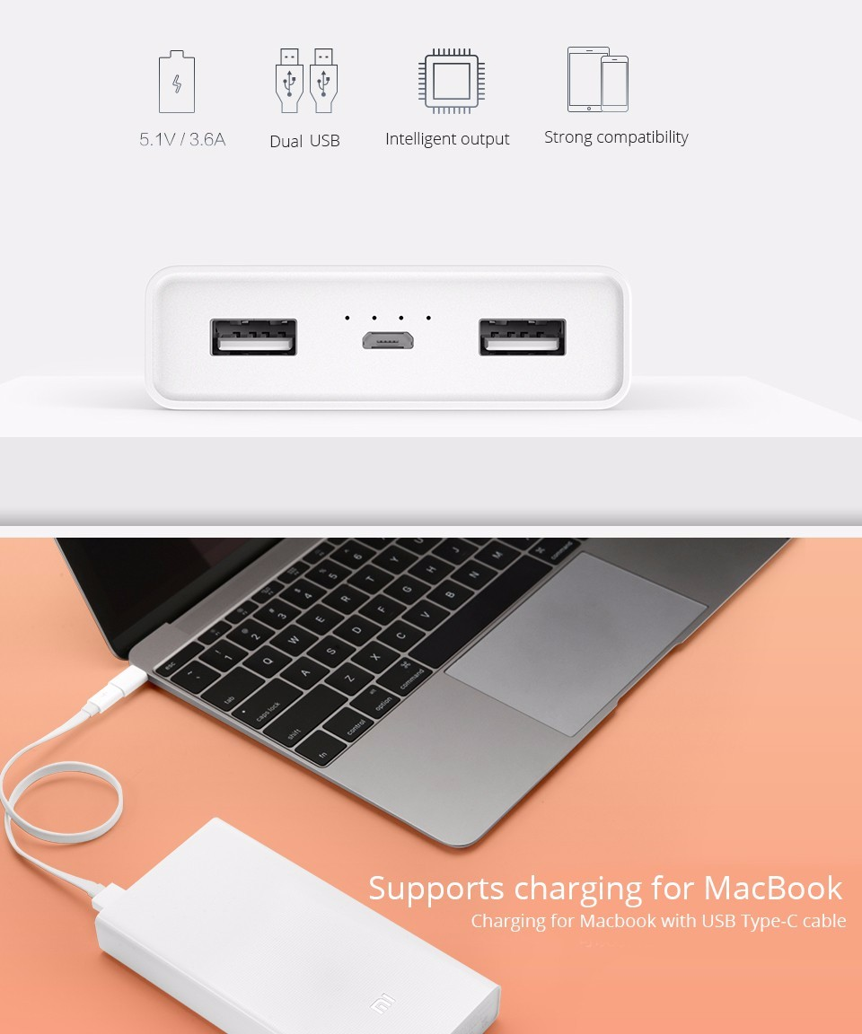 Original Xiaomi Power Bank 20000mAh Dual USB Output Portable External Battery for iPhone Samsung Smartphone iPad Tablets
