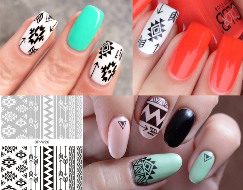 2 Patterns/Sheet Simple Cool Tribal Nail Art Water Decals Aztec Transfer Sticker BORN PRETTY BP-W26(China (Mainland))