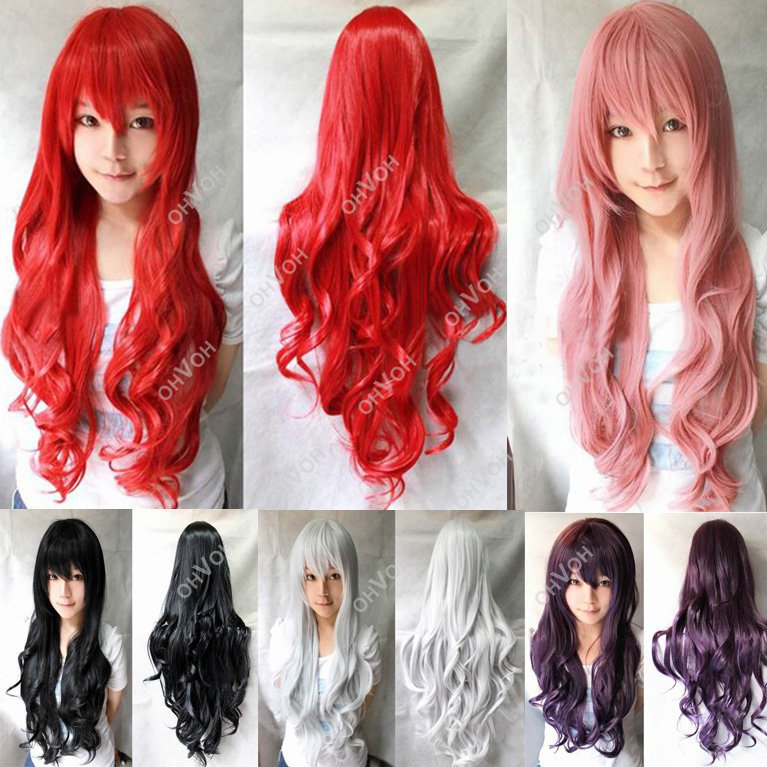 Women Girls Long Curly Full Hair Wavy Wigs Anime Cosplay Party - Top-Rated r & Dropshipper Shop store