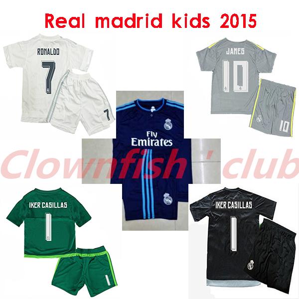 2015 16 Blue real madrid kids /boy soccer jerseys kit real madrid gray RONALDO 2016 kids jerseys shirt,children football shirt(China (Mainland))