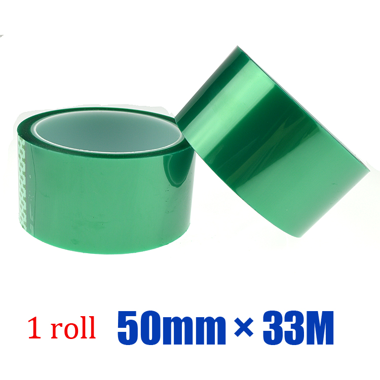 Free shipping 1roll * 50mm * 33M Good heat resistance strong adhesive single side silicon pet green color tape(China (Mainland))