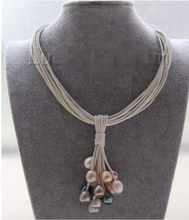 """Buy Choker 16"""" 15row 14mm black pink gray pink pearls white leather necklace Factory Wholesale price Women Gift word Jewelry for $21.74 in AliExpress store"""