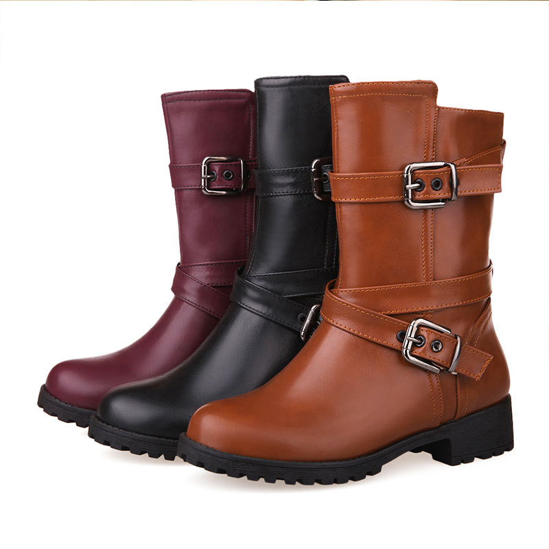 New Spring/Autumn comfortable and fashion ankle boots round toe double buckles boots solid color half boots for women D3655<br><br>Aliexpress