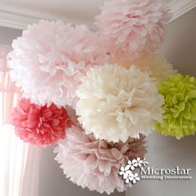 Wedding Decoration Pom Poms 20 25 30cm Tissue Paper Artificial Flower Ball Baby Shower Party Craft Birthday Event Supplies Car(China (Mainland))