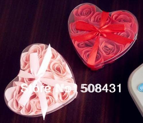 B Free Shipping Fashion Romantic Love Soap Flower Rose Heart Shape Rose Petals 9pcs/box 12 boxes/lot