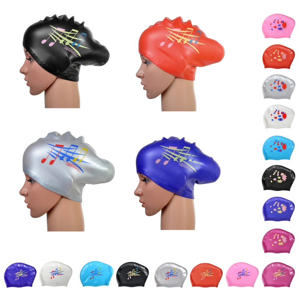Star Fashion Waterproof Silicone Swim Cap / Hat for Girls Ladies Women Long Hair With Ear Cup Swiming(China (Mainland))