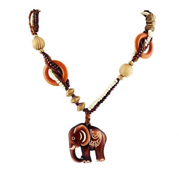 Boho Ethnic Jewelry Long Hand Made Bead Wood Elephant Pendant Maxi Necklace For Women Wholesale Price(China (Mainland))