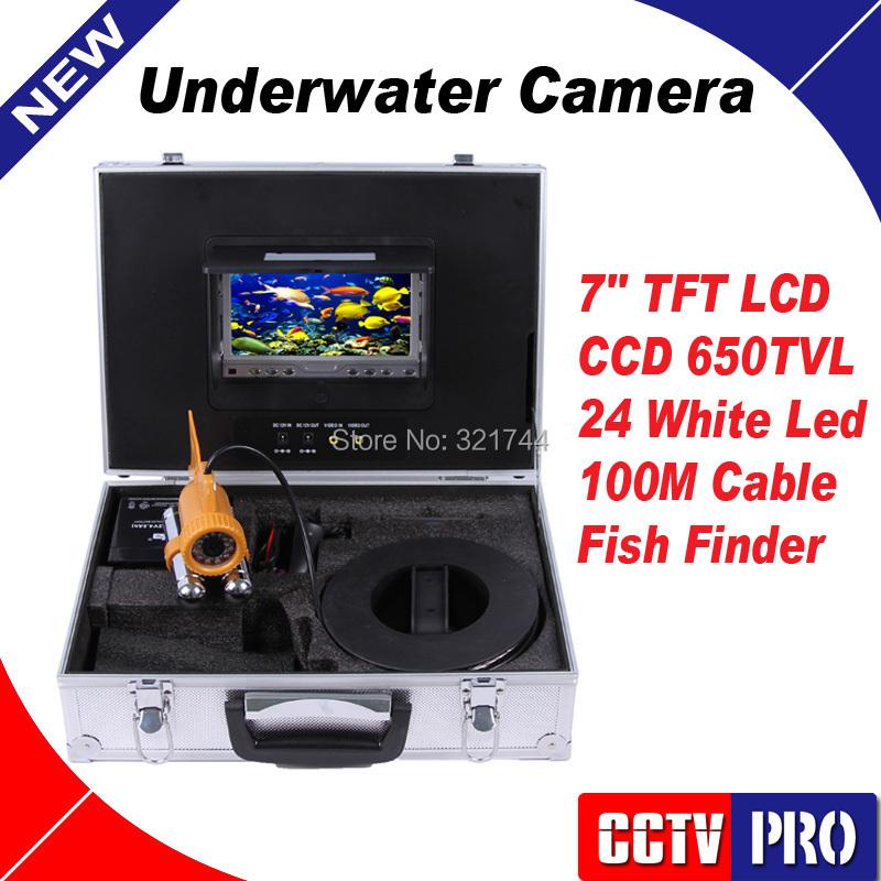 "100M Cable Fish Finder HD 650TVL Sensor Underwater Video Camera System 7"" TFT LCD Fishing Camera Kit 24 White Leds Night Vision(China (Mainland))"