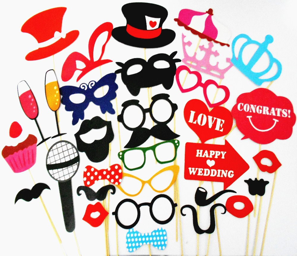 34PCS ! Photo Booth 2015 NEW ! Hot Sale Funny Photo Booth Props Hat Mustache On A Stick Wedding Favors Birthday Party Decoration(China (Mainland))