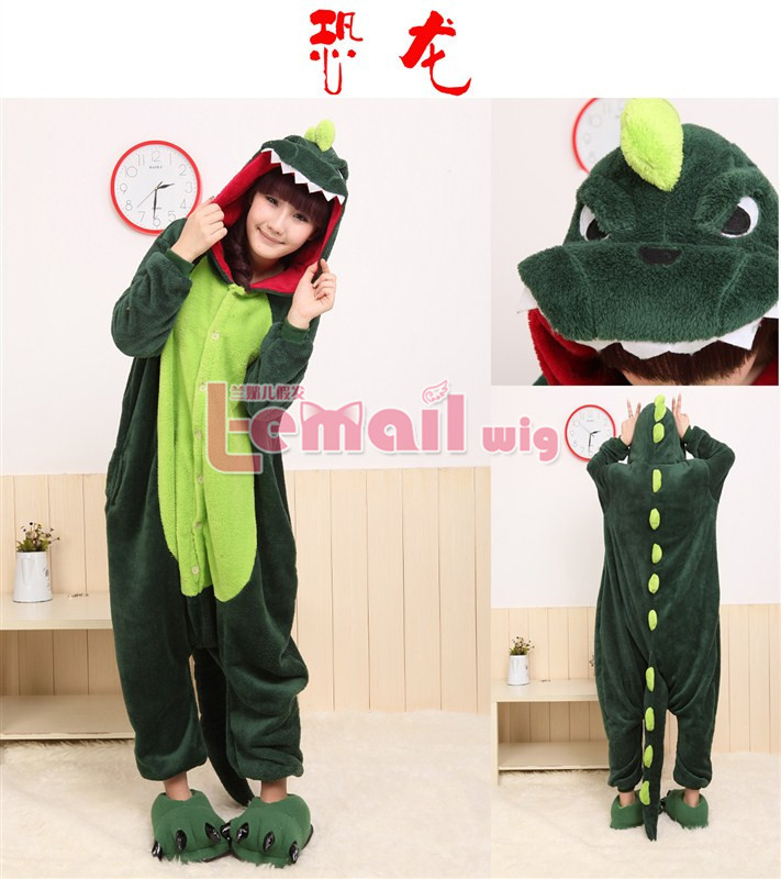 NEW arrive! Lovely Anime Green Dinosaur Cosplay Costume Japan Pajamas JP76(China (Mainland))