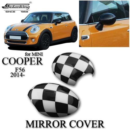 CAR DECORATIONS MIRROR COVER FOR MINI COOPER F56 2014- Black white grid