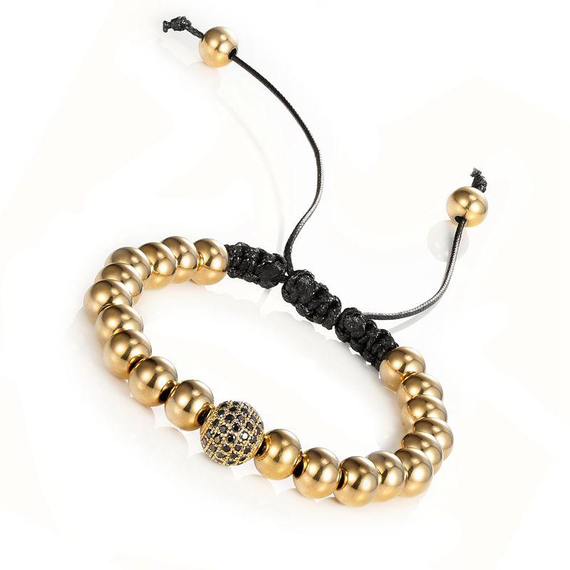 Anil Arjandas Men Bracelets,24K Gold Round Beads & 10mm Micro Pave Black CZ Beads ONE drill ball White zircon(China (Mainland))
