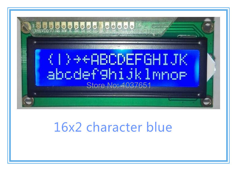 free shipping 10pcs QC1602A 1602LCD display module 80x36mm STN blue with led backlight HD44780(China (Mainland))