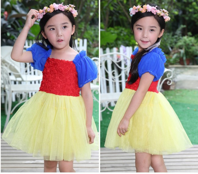 EMS DHL Free shipping Summer Of 2015 New Beautiful Girl Bubble Sleeve Snow White Dress <br><br>Aliexpress