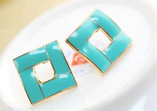wholesale earrings 150pcs(75pairs)top quality Exaggerated acrylic gold plated square earrings alloy women fashion hot 3 colors