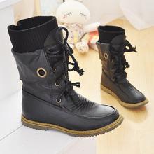 2015 mujeres medio rodilla botas Vintage tacones pisos Lace Up de cuero de la Pu Warm Winter zapatos de piel del dedo del pie redondo botas de nieve plana(China (Mainland))