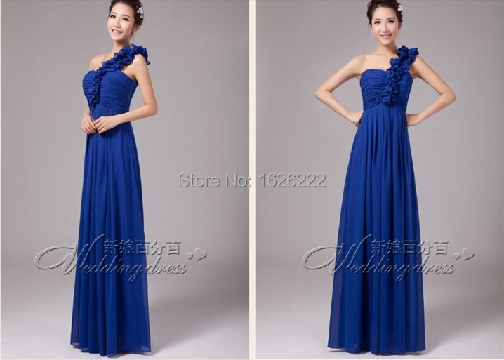 2015 new arrival junior long a line royal blue chiffon for Country dresses for wedding guest